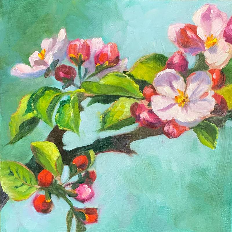 "Apple Blossoms #1 12x12"" o/c $300"