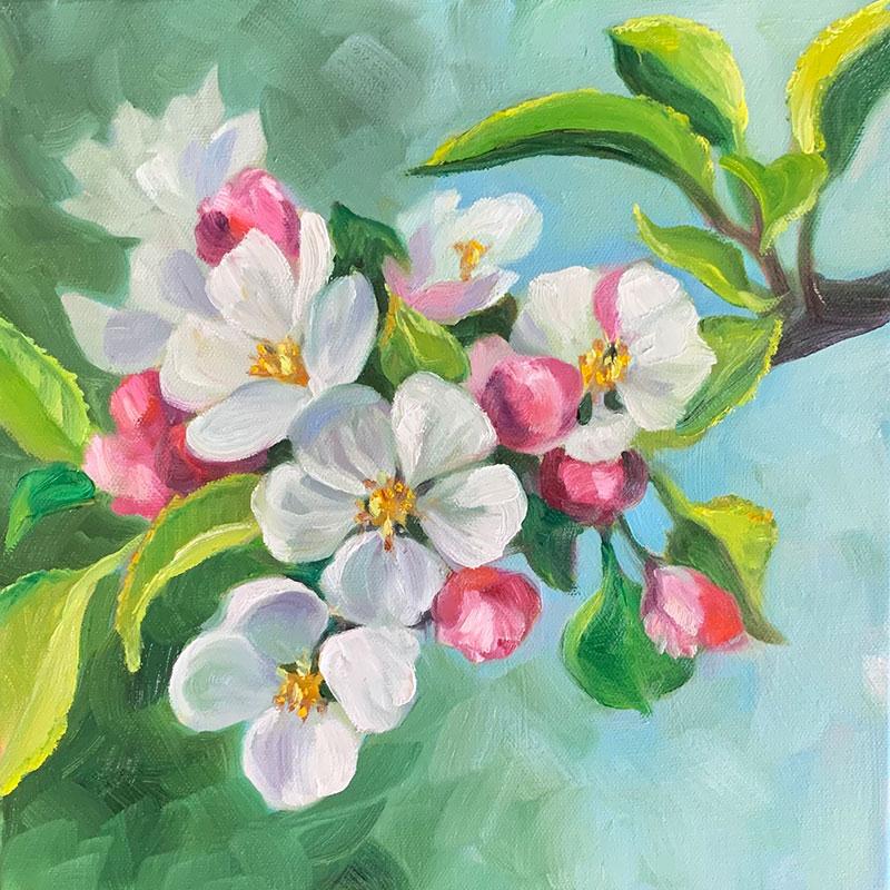 "Apple Blossoms #3 12x12"" o/c $300"