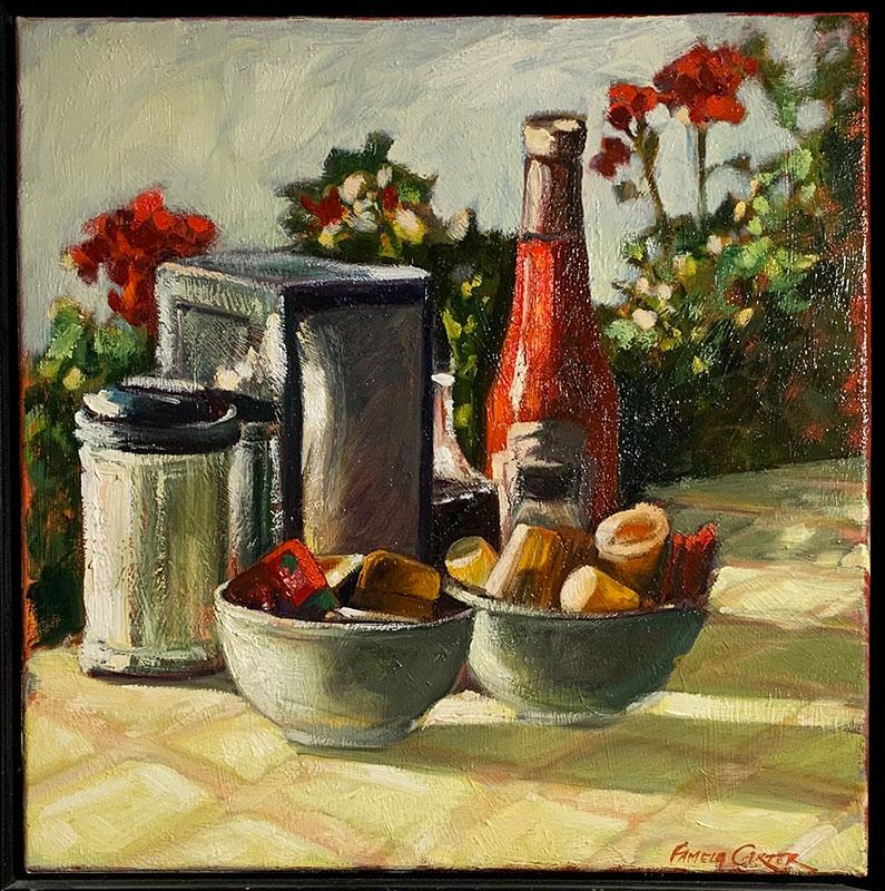 """""""Diner Still Life"""" o/c 17x17"""" (framed) $600"""