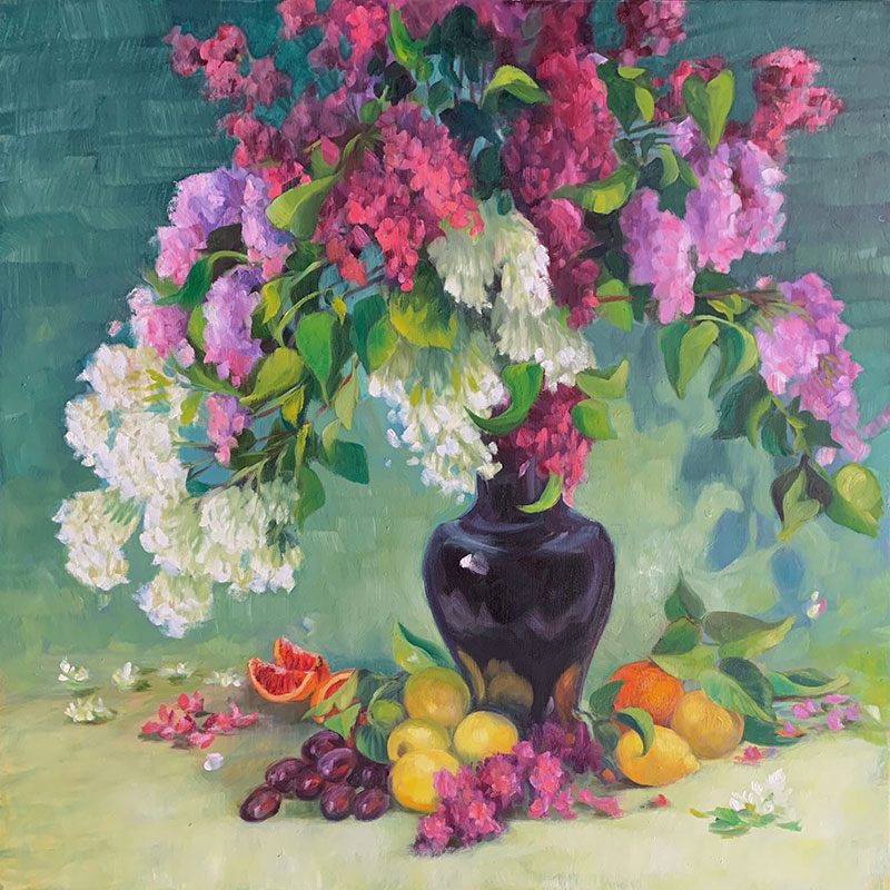 """Lilacs and Lemons 36x36"""" o/c $1600"""