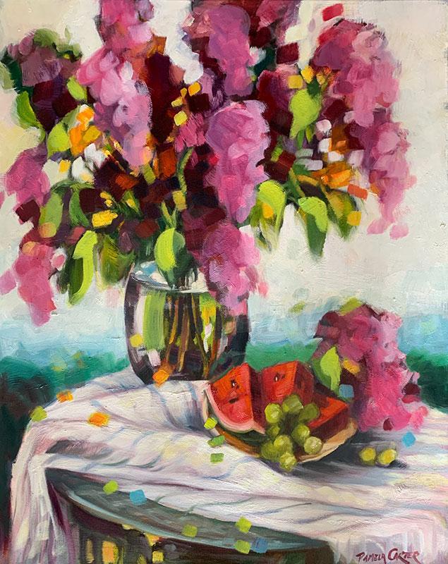 "Lilacs and Watermelon 24x30"" o/c $850"