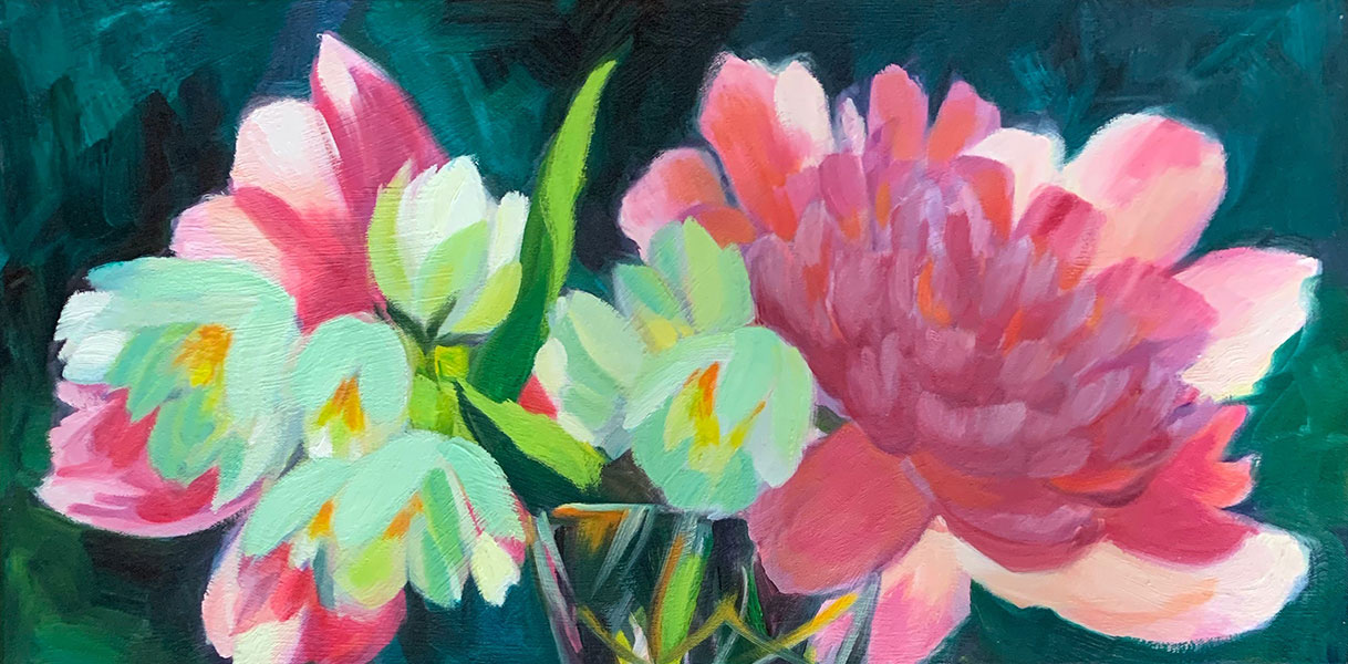 """Peonies, Snowdrops in Wine Glass 12x24"""" o/c $400"""