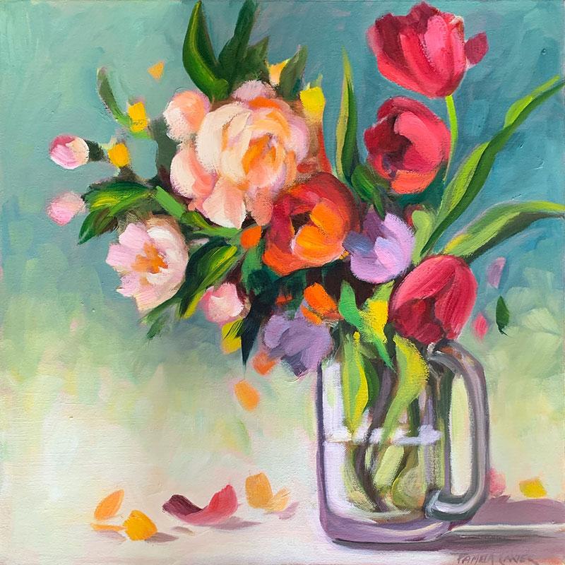 "Peonies and Tulips 18x18"" o/c $500"
