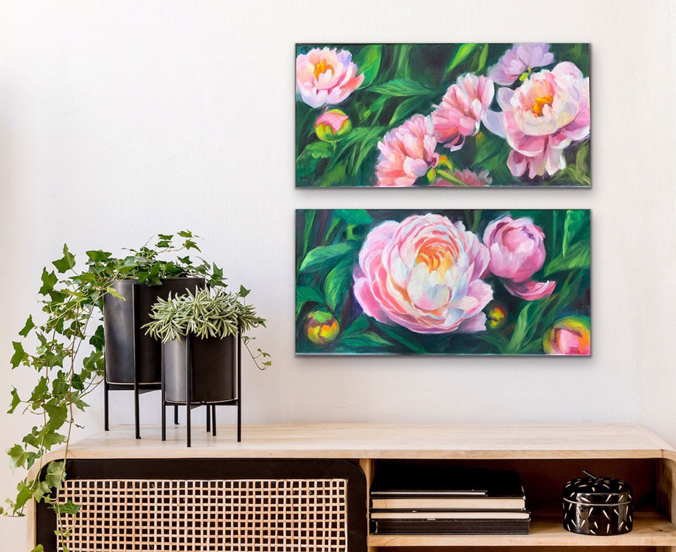 """Peony pair 10x20"""" $550 for both"""