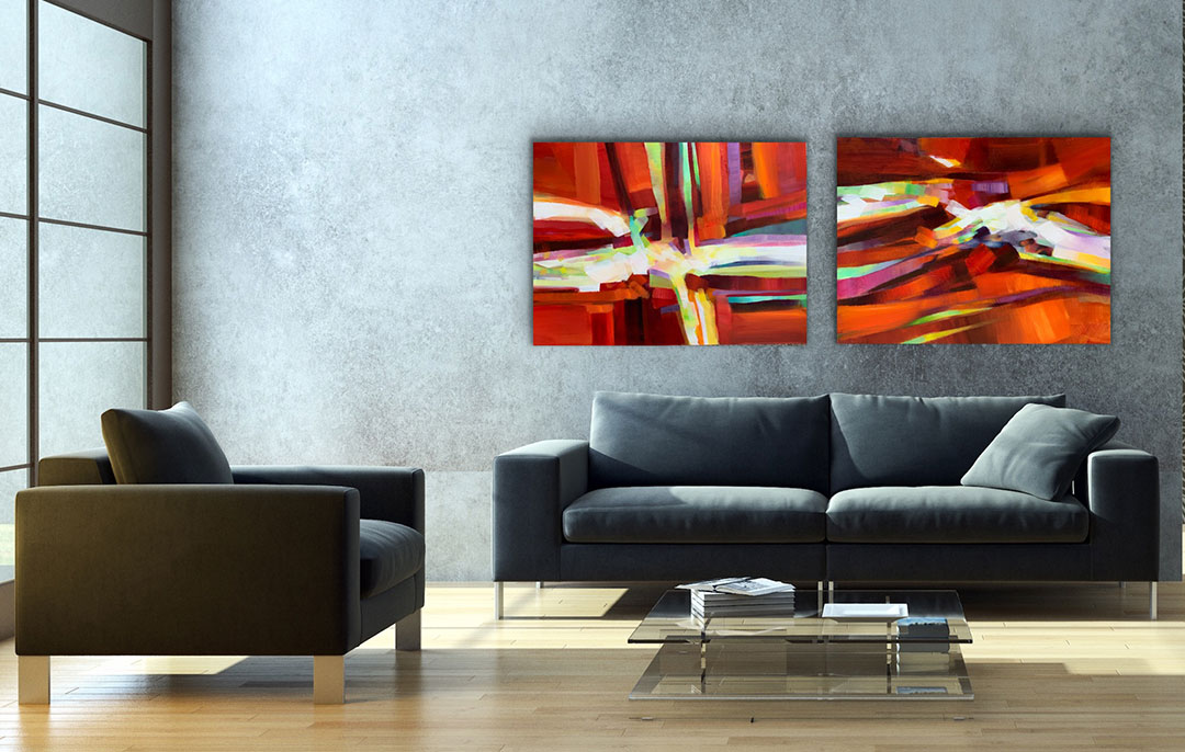 "Red Hot Tango Diptych, 48"" x 72"" oil on canvas"
