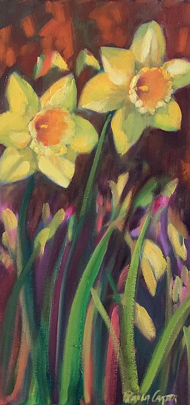 """Two Daffodils 8x16"""" o/c $275"""